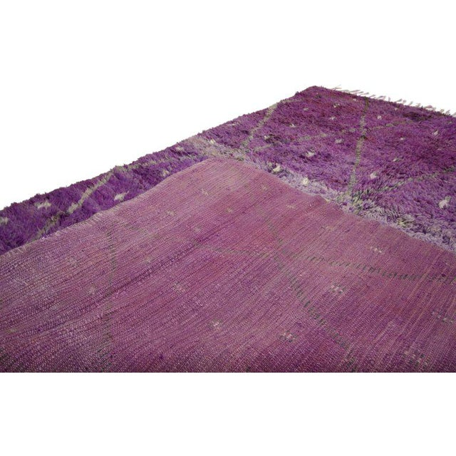 "Boho Chic 20th Century Moroccan Berber Purple Rug with Diamond Pattern - 6'7"" X 10'2"" For Sale - Image 3 of 10"