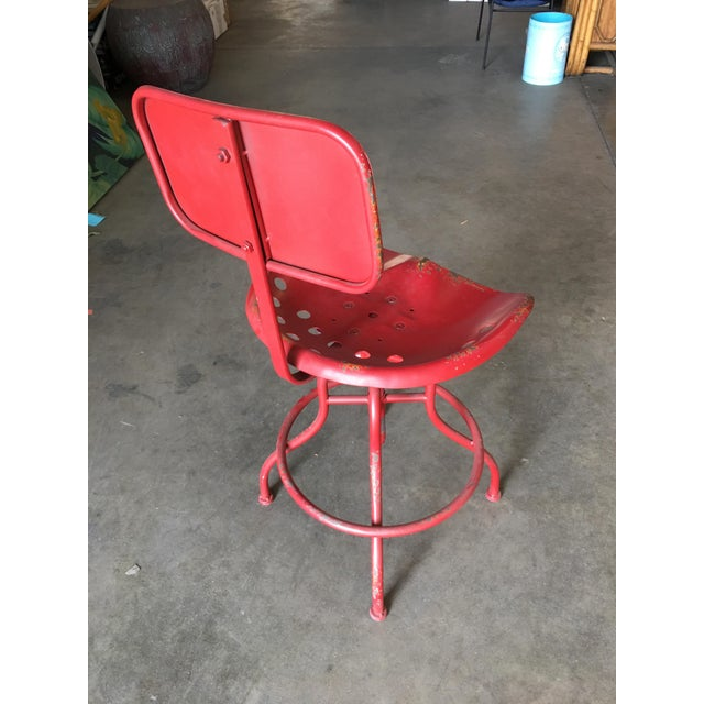 Rustic Industrial Steel and Iron Tractor Work Stool For Sale - Image 4 of 8