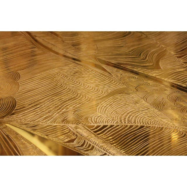 Contemporary Signed Armand Jonckers Etched Bronze Dining Table For Sale - Image 3 of 9