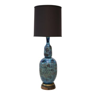 Rimini blue Italian Pottery Lamp by Aldo Londi for Bitossi For Sale