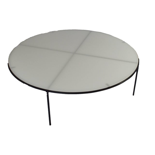 Mid-Century Modern T.H. Robsjohn-Gibbings Milk Glass Top and Iron Coffee Table For Sale - Image 3 of 6
