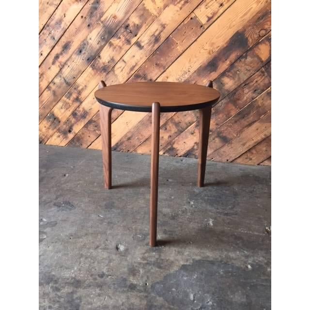Custom walnut sculpted legs side table. Newly made mid century style table perfect for side table or plant stand.