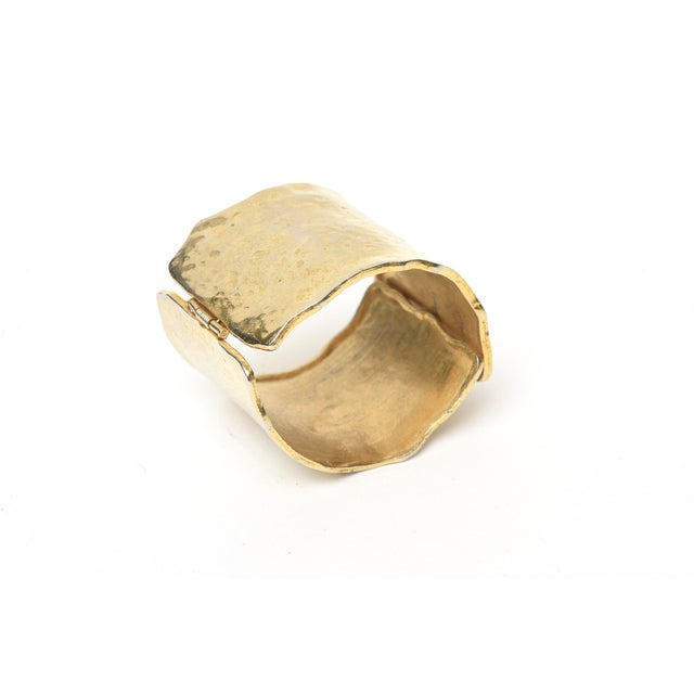 Boho Chic Vintage Gold Metal Hammered Hinged Cuff Bracelet For Sale - Image 3 of 9
