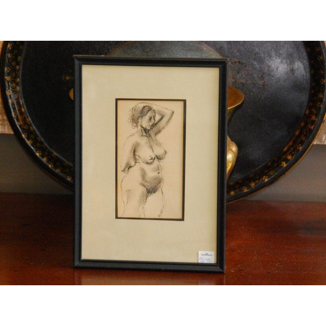Drawing of nude, framed, signed Padgett