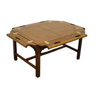 Baker Furniture Traditional Style Bookmatched Walnut Accent Butler's Coffee Table For Sale