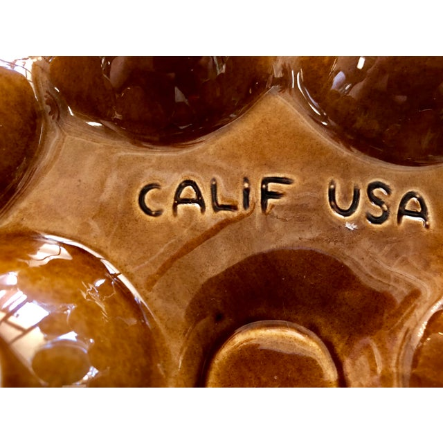 Vintage California Pottery Ceramic Deviled Egg Serving Dish For Sale - Image 4 of 6