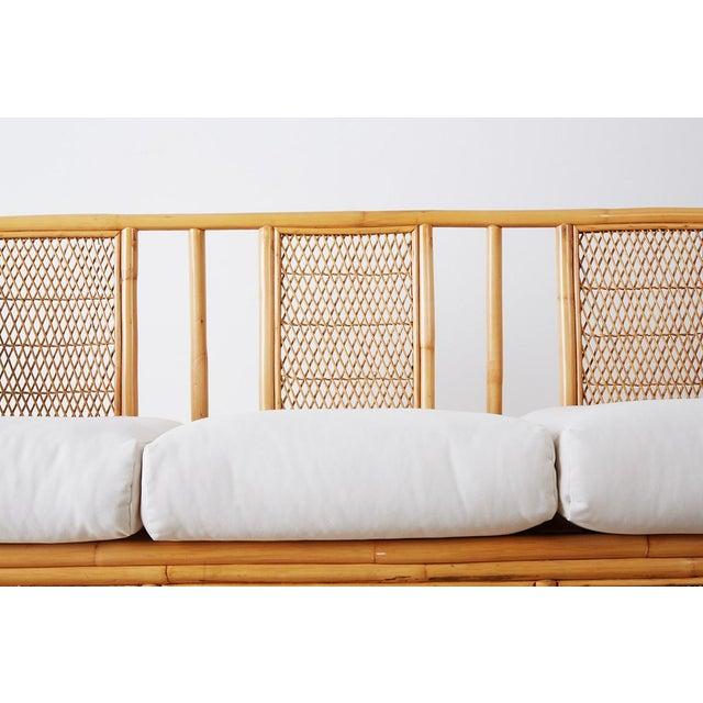 Mid 20th Century Midcentury Bamboo Rattan Wicker Three-Seat Sofa For Sale - Image 5 of 13