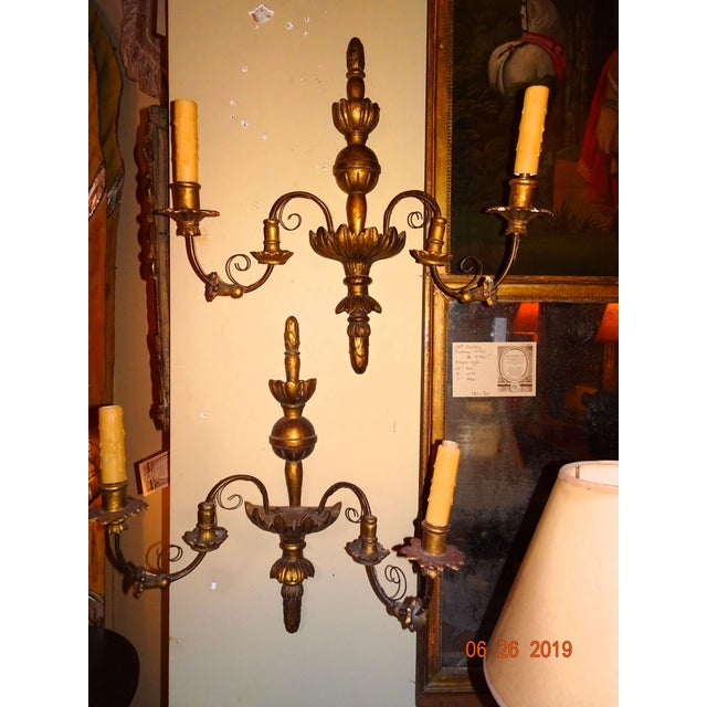 19th Century Pair of French Gilt Wood Sconces For Sale - Image 10 of 11