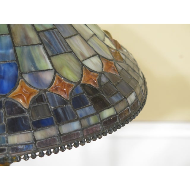 Arts & Crafts Quoizel Arts & Crafts Stained Glass Lamp For Sale - Image 3 of 9