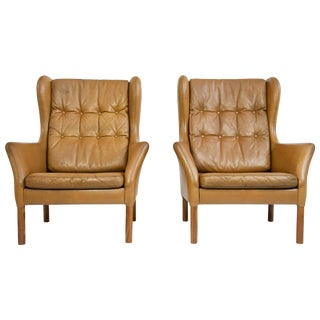 Danish Leather High Back Chairs For Sale