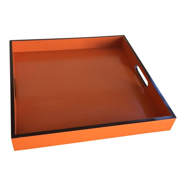 Mid-Century Modern Hermès Inspired Orange Lacquer Tray For Sale