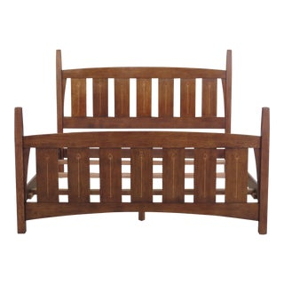 Arts and Crafts Stickley Harvey Ellis King Size Inlaid Oak Bedframe For Sale