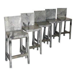 1980s Karl Springer Grey Lacquered Goat Skin Bar Stools - Set of 5