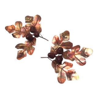 Vintage Copper Oak Leaves With Wood Acorn Wall Decor - Set of 2 For Sale