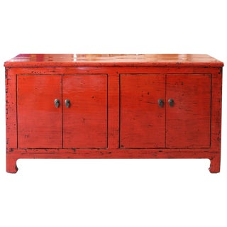 1920s Asian Red Lacquered Sideboard For Sale