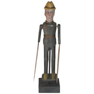 19th Century Original Painted Whirlygig Soldier on Stand For Sale