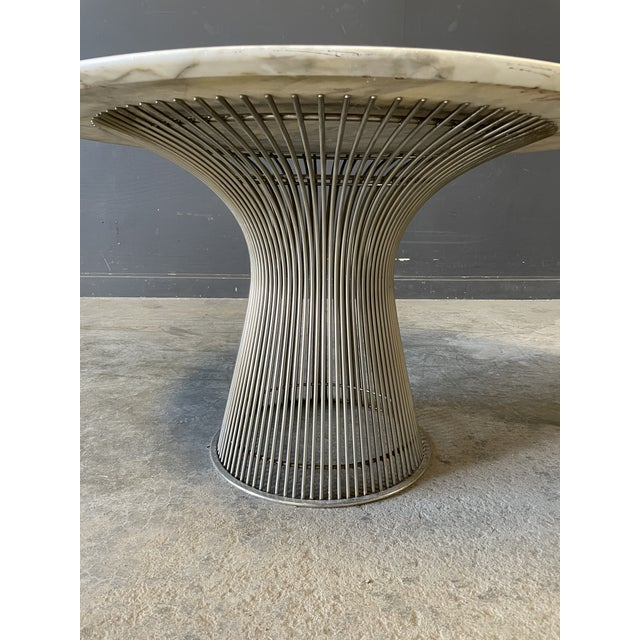 Metal Chrome and Marble Round Table Designed by Warren Platner for Knoll. For Sale - Image 7 of 13