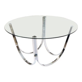 Tall Round Center Coffee Table Chrome and Glass For Sale