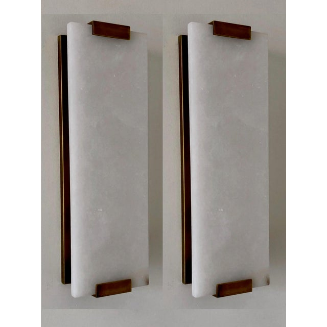 "Stone Restoration Hardware, Hand-Carved Alabaster Sconce 18"" - a Pair For Sale - Image 7 of 7"