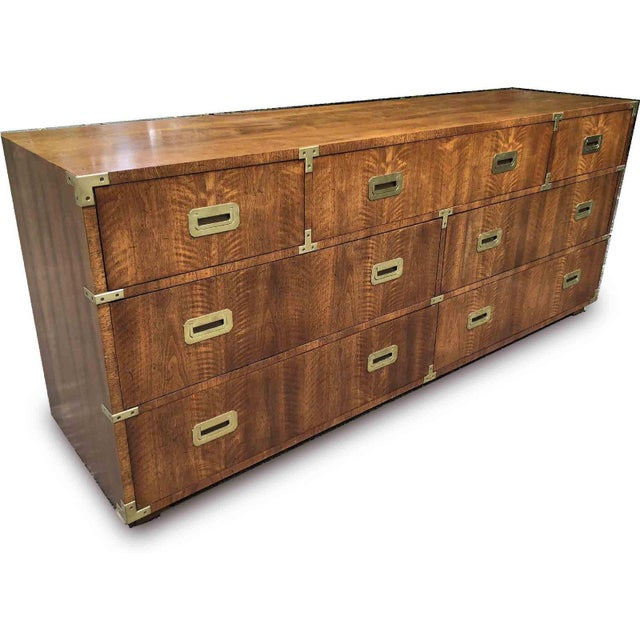 1970s Campaign 7 Drawer Credenza or Dresser by Henredon For Sale - Image 11 of 13