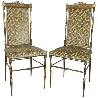 1960s Vintage Chiavari Italian Neoclassic Style Brass Side Chairs - A Pair For Sale