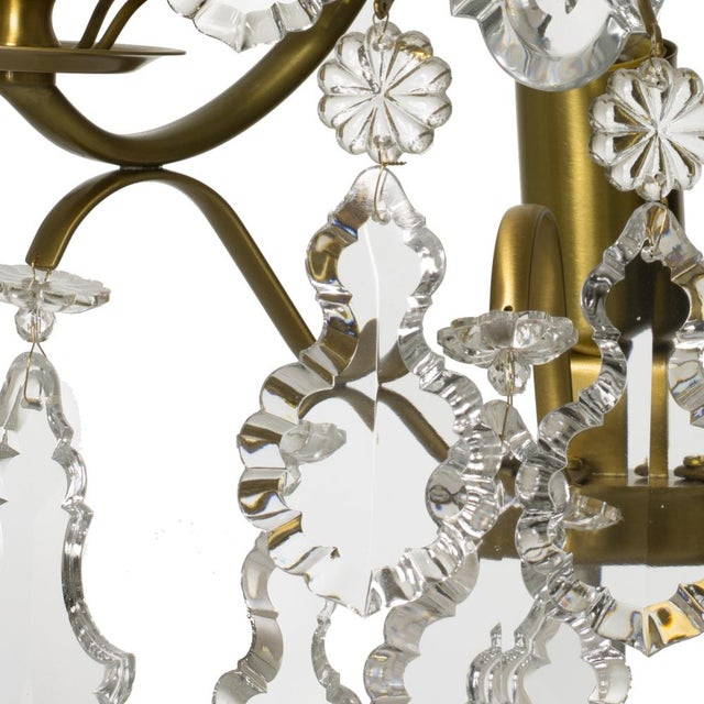 Rococo style wall Chandelier in amber coloured brass with pendeloque shaped crystals (width 32cm/13 inches) For Sale - Image 5 of 8