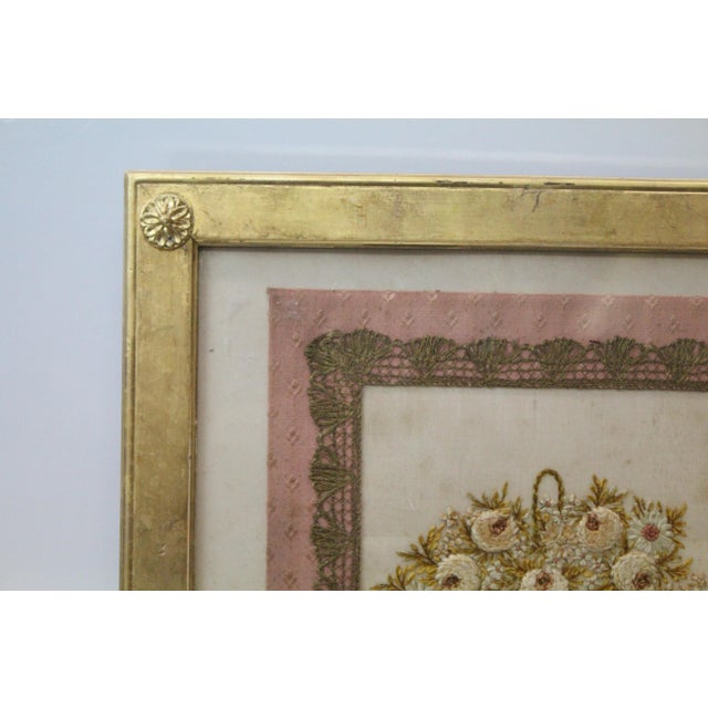 Americana Gilded Thread Framed Embroidery For Sale - Image 3 of 7