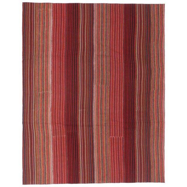 1960s Vintage Turkish Jajim Kilim Flat-Weave Rug - 8′4″ × 10′7″ For Sale In Dallas - Image 6 of 6