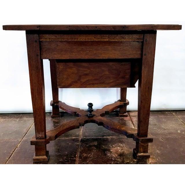 17th Century Antique ( 1680-1749 ) Flemish Renaissance Oak Possum Belly Drawer Kitchen Work Table For Sale - Image 5 of 12