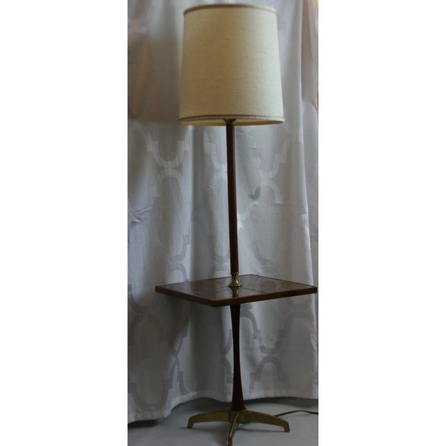 Mid-century floor lamp with side table. Possibly Georges Briard. Four large glass tiles create a stunning tabletop in...