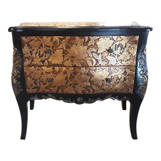 20th Century Traditional Gold Floral Embellished Small Chest of Drawers For Sale