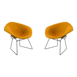 1960's Harry Bertoia for Knoll Diamond Chairs in Original Knoll Textile For Sale