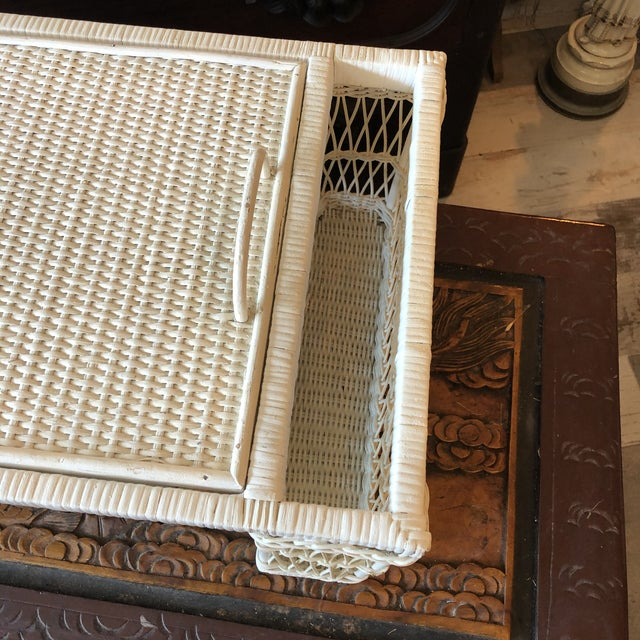 Shabby Chic Vintage White Wicker Bed Tray For Sale - Image 3 of 12