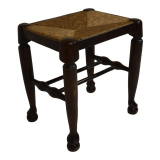 19th-Century French Rush Cane Oak Foot Stool For Sale