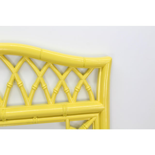 Mid-Century Modern Lovely Bright Sunny Yellow Faux Bamboo Mirror For Sale - Image 3 of 5