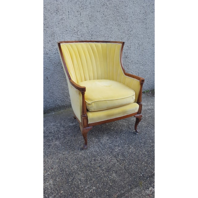 Antique Canary Yellow Velvet Armchair - Image 2 of 6