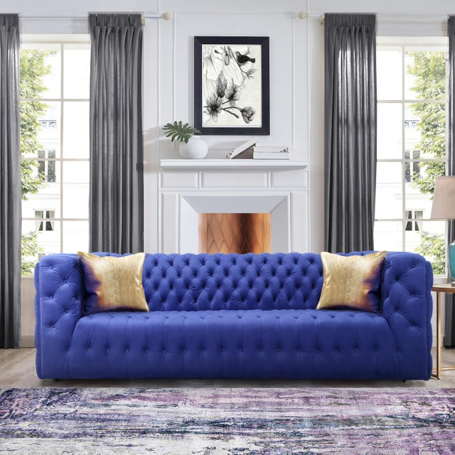 Textile Pasargad Home Vicenza Collection Velvet Tufted Sofa, Blue For Sale - Image 7 of 9