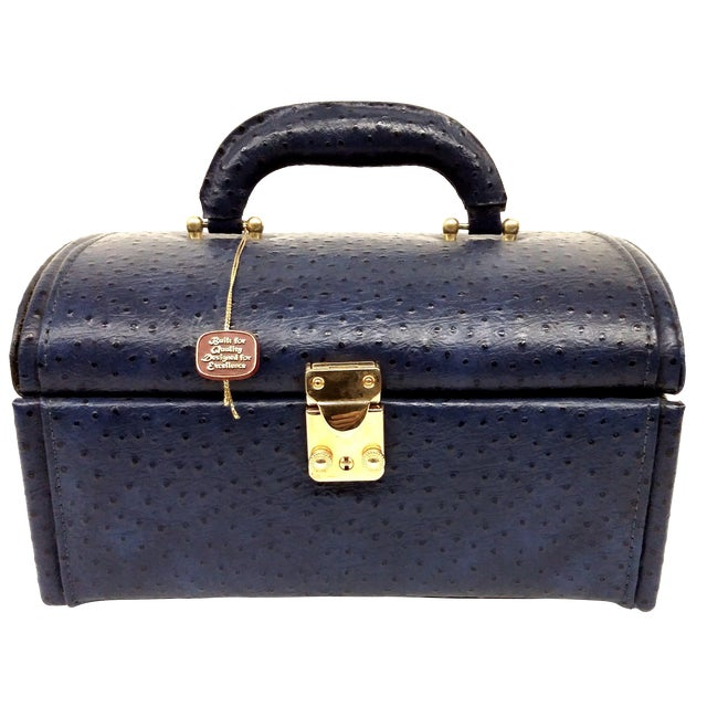 Vintage Ostrich Leather Jewelry Travel Case For Sale