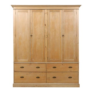 English Large Size Vintage Natural Wood Cabinet, Four Doors and Drawers For Sale