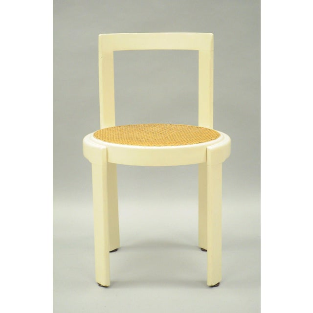 Vintage Thonet Style Italian Mid-Century Modern Round White Cane Seat Side Chair - Image 2 of 10