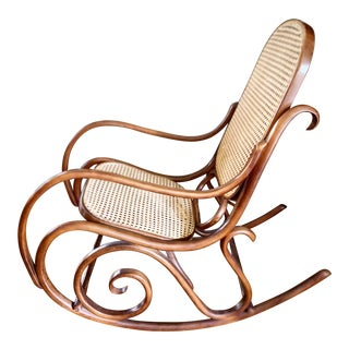 Mid Century Thonet Style 1970s Bentwood Cane Rocking Chair For Sale