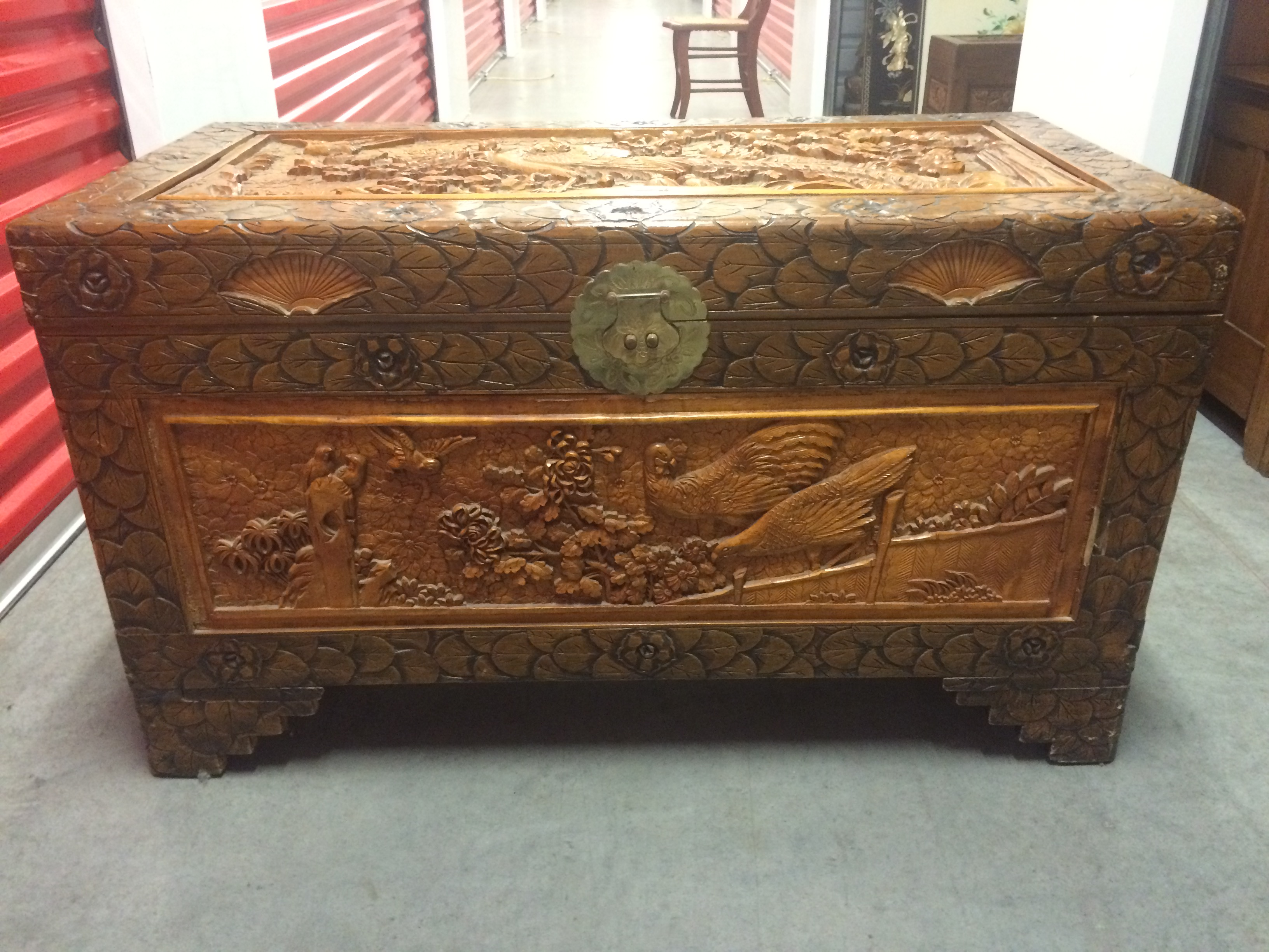Antique hand carved footed chest asian