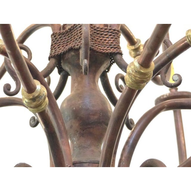 Large Early 1900s Handmade Copper and Brass Chandelier - Image 5 of 9