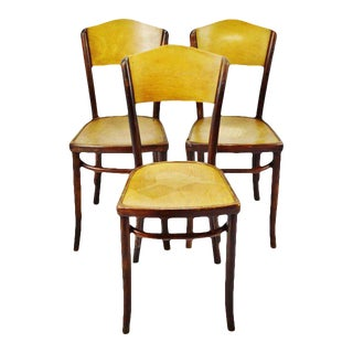 Vintage 1920's Fischel Bentwood Cafe Chairs - Set of 3 For Sale