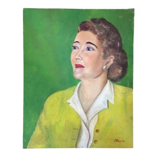 1950s Portrait Painting of Lady in Yellow For Sale