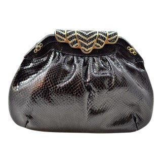 Finesse La Model Karung Leather Deco Crystal Clutch For Sale