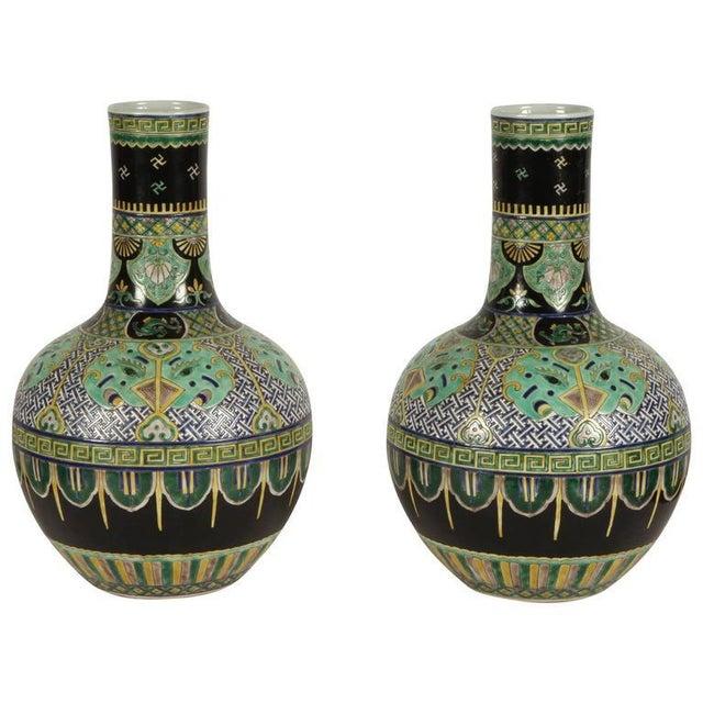 Pair of Famile Verte Art Deco Vases - Image 1 of 10