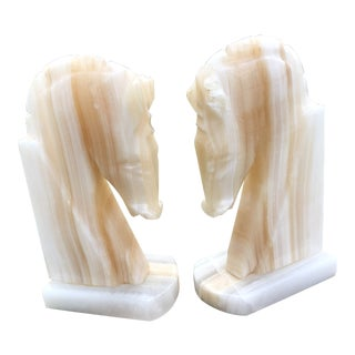 1980s Vintage Alabaster Horse Head Bookends - a Pair For Sale