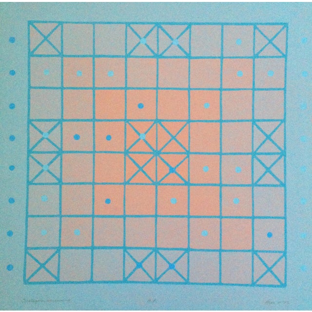 1973 Op-Art Silkscreen Signed Bay Area Artist For Sale - Image 10 of 10