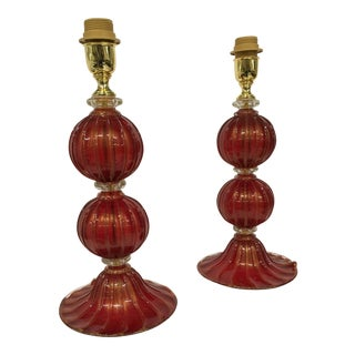 Murano Glass Red and Gold Table Lamps - A Pair For Sale